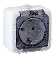 Серия розеток выключателей «ALFA IP44» открытой установки